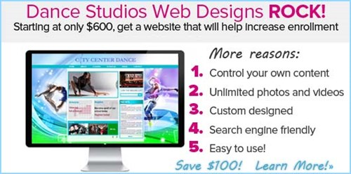 Save $100 Today On A Dance Studio Website